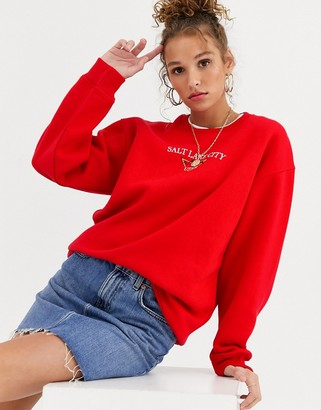 Daisy Street relaxed sweatshirt with salt lake city graphic