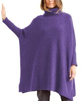 Parisbonbon Women's 100% Cashmere Ribbing Poncho Color Size XL