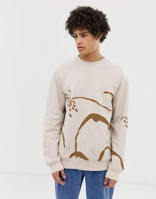 Asos oversized sweatshirt in heavyweight beige jersey with boucle embroidery