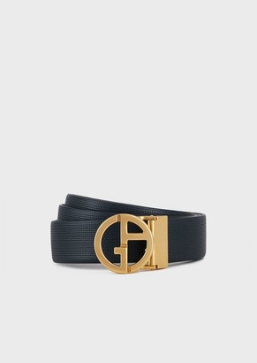 Giorgio Armani Leather Belt With Ga Logo Formed Of Micro-Dots