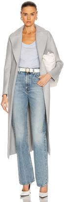 Harris Wharf London Long Maxi Pressed Wool Coat in Silver | FWRD