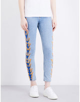 Sandro Flame-embroidery high-rise skinny jeans