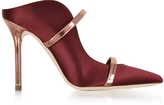 Malone Souliers Maureen Red Wine Satin and Rose Gold Mirror Nappa Leather High Heel Mule