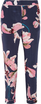 Erdem Giulia Cropped Floral-print Slim-leg Pants - Navy