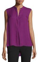 DKNY Shereen Sleeveless Jewel-Neck Blouse, Garnet