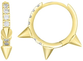 Sphera Milano 14K Yellow Gold Plated Sterling Silver Spiked Pave CZ Huggie Hoop Earrings