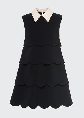 Miu Miu Tiered Pointed-Collar Mini Dress