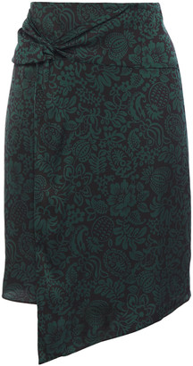 BA&SH Marina Wrap-effect Twist-front Floral-print Crepe Skirt