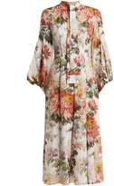 Andrew Gn Floral-print puff-sleeved silk dress