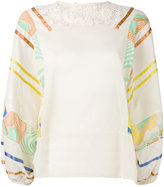 Semi-Couture Semicouture - printed sleeves blouse - women - Cotton - 40