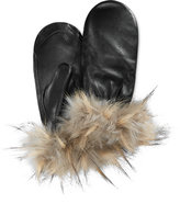 Charter Club Faux Fur-Cuff Leather Mittens, Only at Macy's