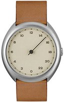 Slow O 07 - Brown Vintage Leather Silver Case Creme Dial Unisex Quartz Watch with Beige Dial Analogue Display and Brown Leather Strap