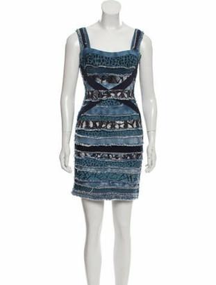 Herve Leger Patchwork Bandage Dress Blue