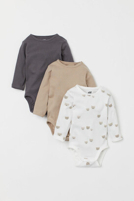 H&M 3-pack Cotton Bodysuits - Brown