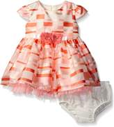 Bonnie Baby Girls' Short Sleeve Striped Organza Party Dress with Panty