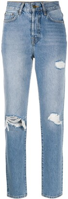 Anine Bing High-Rise Distressed Straight Leg Jeans