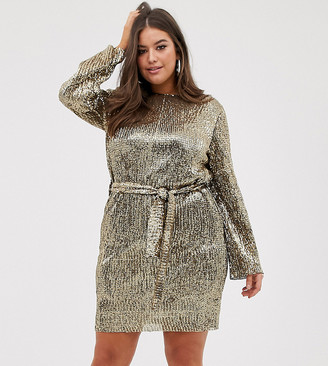 Club L London Plus sequin plisse belted mini dress in matt gold