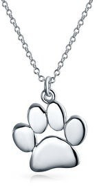 Bling Jewelry Dog Cat Kitten Puppy Paw Print Pendant Necklace 925 Sterling Silver