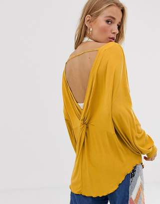 We The Free By Free People by Free People Shimmy deep v back top with crochet sleeve-Gold