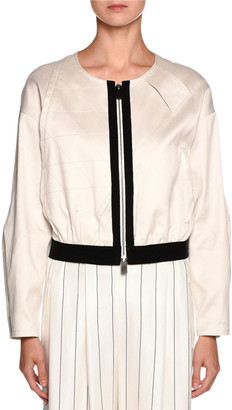Giorgio Armani Contrast-Trim Zip Bomber Jacket, Off White