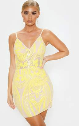PrettyLittleThing Yellow Strappy Sheer Panel Sequin Bodycon Dress