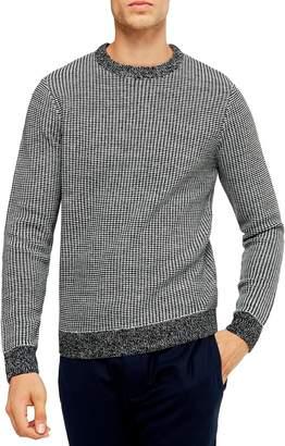 Topman Classic Fit Bird's Eye Crewneck Sweater