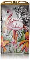 Anuschka Handpainted Leather Double Eyeglass Case, Flamboyant Flamingos