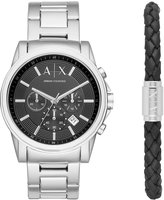 Armani Exchange A|X Men's Chronograph Outerbanks Stainless Steel Bracelet Watch Gift Set 44mm AX7100