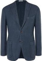 Boglioli - Navy Houndstooth Linen And Cotton-blend Blazer