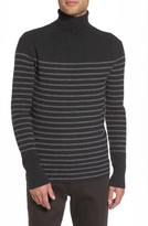 Vince Men's Regular Fit Breton Stripe Cashmere Turtleneck Sweater