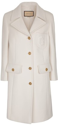 Gucci Double G embroidered wool coat