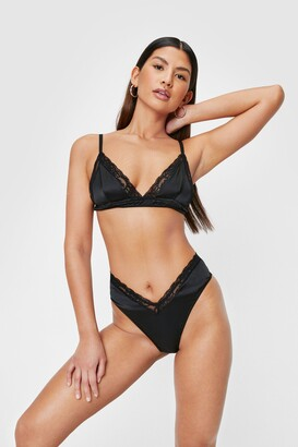 Nasty Gal Womens Satin V Neck Bralette and High Leg Panty Set - Black