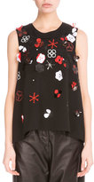 Kenzo Tanami Flower 3D Embroidered Tank, Black