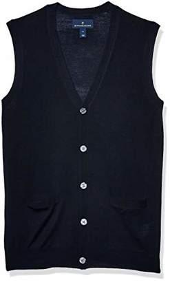 Buttoned Down Italian Merino Wool Lightweight Cashwool Button-front Vest Sweater,S