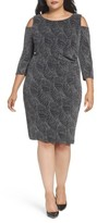 Sangria Plus Size Women's Cold Shoulder Glitter Knit Sheath Dress