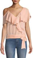 Paige Chereen Ruffle One-Shoulder Silk Top