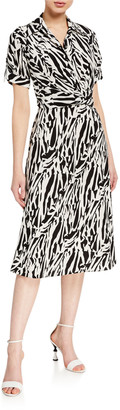 Diane von Furstenberg Deborah Collared Zebra-Print Midi Dress