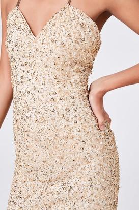 Little Mistress Luxury Cassidy Gold Hand-Embellished Mini Dress