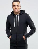 New Look Zip Through Hoodie In Black