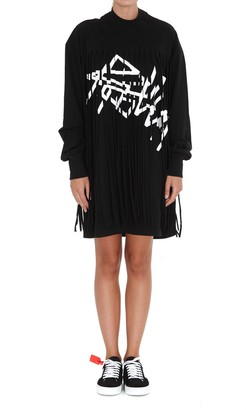Palm Angels Logo Print Fringed Dress