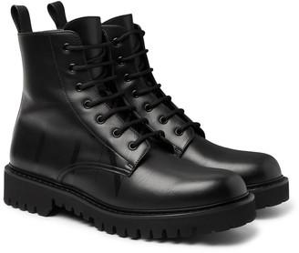 Valentino Logo-Print Leather Boots