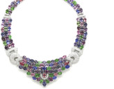 Tresor Collection - Multicolor Spinal, Tanzanite, Tsavorite Garnet and Diamond Necklace in 18k White Gold