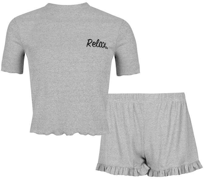 Thumbnail for your product : Fabric Waffle Cotton Frilly Shorts Pyjama Set with Relax Slogan