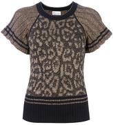 RED Valentino animal pattern knitted top - women - Polyester/Viscose/Angora/Wool - S