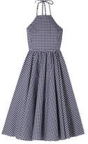 Caroline Constas Gretta Gingham Cotton-poplin Dress - Navy