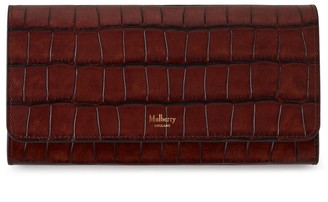 Mulberry Continental Wallet Cognac Brown Vintage Croc Print