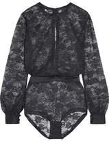 Eres Bijoux Satin-trimmed Lace Bodysuit - Black