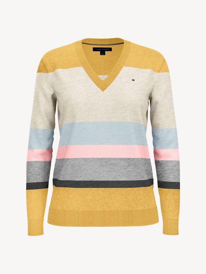 Ladies Tommy Hilfiger Block Stripe Sweater Vneck Jumper Knit
