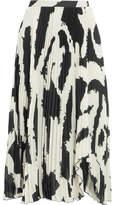 Proenza Schouler Asymmetric Pleated Printed Chiffon Midi Skirt - Black