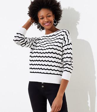 LOFT Petite Striped Stitchy Sweater
